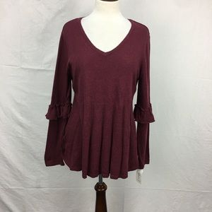 Style & Co Burgundy Ruffle Sleeves Sweater